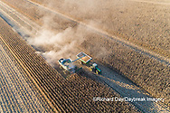 63801-13002 Harvesting corn and unloading into grain cart in fall-aerial  Marion Co. IL