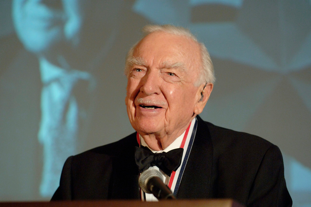Austin, TX March 1, 2006: Walter Cronkite speaks at a Texas Independence Day celebration at the Texas State History Museum where he was honored for a lifetime of service to Texas. ©Bob Daemmrich