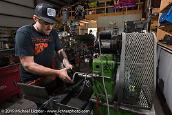 """Dan """"Bacon"""" Carr of DC Choppers in Spicewood, TX during a visit after the Giddy Up Vintage Chopper Show.  Monday, March 30, 2015, photographed by Michael Lichter. ©2015 Michael Lichter"""