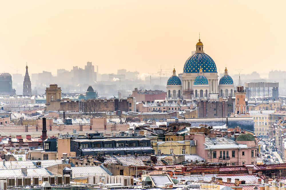 Aerial view of Saint Petersburg from Saint Isaac's Cathedral dome and view of Trinity Cathedral