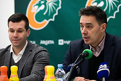 Sani Becirovic and Davor Uzbinec during press conference and introduction of new head coach for KK Cedevita Olimpija  on January 28, 2020 in Arena Stozice, Ljubljana, Slovenia. Photo By Grega Valancic / Sportida