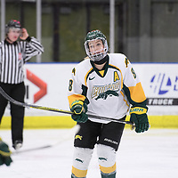 5th year forward Bailey Braden (8) of the Regina Cougars in action during the Women's Hockey home game on February 9 at Co-operators arena. Credit: Arthur Ward/Arthur Images