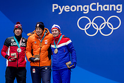 PYEONGCHANG-GUN, SOUTH KOREA - FEBRUARY 12: (L-R) Silver medalist Ted-Jan Bloemen of Canada, gold medalist Sven Kramer of the Netherlands and bronze medalist Sverre Lunde Pedersen of Norway pose during the medal ceremony for the Men's 5000m Speed Skating at Medal Plaza on February 12, 2018 in Pyeongchang-gun, South Korea. Photo by Ronald Hoogendoorn / Sportida