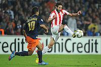 FOOTBALL - UEFA CHAMPIONS LEAGUE 2012/2013 - GROUP STAGE - GROUP B - MONTPELLIER HSC v OLYMPIACOS - 24/10/2012 - PHOTO SYLVAIN THOMAS / DPPI - YOUNES BELHANDA (MHSC) / DJAMEL ABDOUN (OFC)