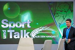 """14.05.2012, Hangar 7, Salzburg, AUT, Sport und Talk, Live aus dem Hangar 7, im Bild Andi Groebl, Servus TV Moderator // during the Servus TV show """"Sport and Talk live at the Hangar 7, Salzburg, Austria on 2012/05/14, EXPA Pictures © 2012, PhotoCredit: EXPA/ Juergen Feichter"""
