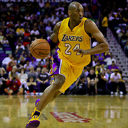Apr 8, 2016; New Orleans, LA, USA; Los Angeles Lakers forward Kobe Bryant (24) drives with the ball against the New Orleans Pelicans during the first quarter of a game at the Smoothie King Center. Mandatory Credit: Derick E. Hingle-USA TODAY Sports