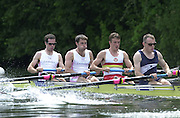 Henley on Thames, United kingdom,  Heat of the Stewards' Challenge Cup<br /> Leander Club and London RC GBR LM4-<br /> bow Ben Webb, Mark Hunter, Mike Hennessy and John Warnock. 05.07.2002 Annual 2002 Henley Royal Regatta, Henley Reach, River Thames, England, [Mandatory Credit: Peter Spurrier/Intersport Images] 20020703 Henley Royal Regatta, Henley, Great Britain