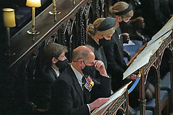 (left to right) James Viscount Severn, the Earl of Wessex, the Countess of Wessex and Lady Louise Windsor during the funeral of the Duke of Edinburgh in St George's Chapel, Windsor Castle, Berkshire. Picture date: Saturday April 17, 2021.