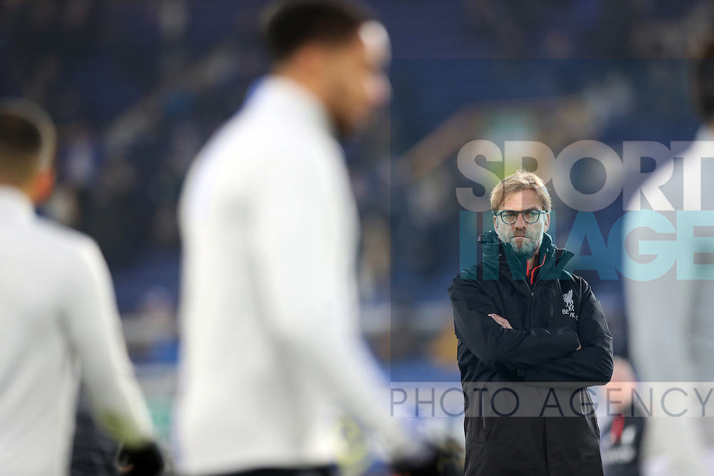 Jurgen Klopp manager of Liverpool watches Everton warm up  before the English Premier League match at Goodison Park, Liverpool. Picture date: December 19th, 2016. Photo credit should read: Lynne Cameron/Sportimage