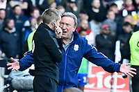 Football - 2019 / 2020 Sky Bet (EFL) Championship - Swansea City vs. Reading<br /> <br /> Cardiff City manager Neil Warnock looks angry with an official  on the touchline, at the Liberty Stadium.<br /> <br /> COLORSPORT/WINSTON BYNORTH