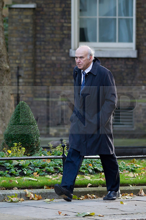 © Licensed to London News Pictures. 16/10/2012. LONDON, UK. Vince Cable, the Business Secretary, is seen on Downing Street in London for today's (16/10/2012) meeting of David Cameron's cabinet. Photo credit: Matt Cetti-Roberts/LNP