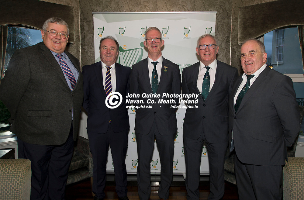 25-01-20. Leinster GAA Annual Convention 2018 at the Knightsbrook Hotel, Trim.<br /> Incoming Officers elected to serve on the Leinster Executive from left, Colm Finnegan, Treasurer. Colm Kent,  Vice Chairman. Pat Teehan, Cathoirleach. Michael Reynolds, Secretary and Pat Lynagh, P.R.O.<br /> Photo: John Quirke / www.quirke.ie<br /> ©John Quirke Photography, Unit 17, Blackcastle Shopping Cte. Navan. Co. Meath. 046-9079044 / 087-2579454.