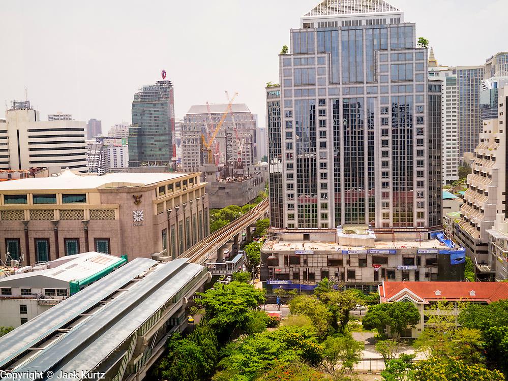 22 APRIL 2013 - BANGKOK, THAILAND:  The skyline of Bangkok looking east from the penthouse floor of the Maneeya Center.   PHOTO BY JACK KURTZ