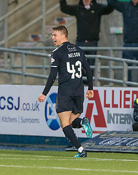 Falkirk's Andrew Nelson celebrates after scoring their third goal. Falkirk 3 v 1 Inverness Caledonian Thistle, Scottish Championship game played 27/1/2018 at The Falkirk Stadium.