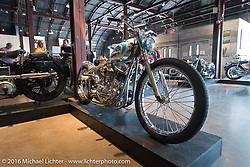 Bill Dodges' Blings Cycles custom 1956 Harley-Davidson Panhead Blue Plate Special on Saturday in the Handbuilt Motorcycle Show. Austin, TX, USA. April 9, 2016.  Photography ©2016 Michael Lichter.