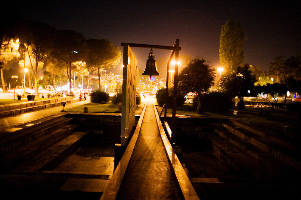 Street scene in Tirana, near the famous Pyramid building