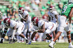Sep 5, 2020; Huntington, West Virginia, USA; Eastern Kentucky Colonels defensive lineman Elijah Taylor (53) lines up before a play during the third quarter against the Marshall Thundering Herd at Joan C. Edwards Stadium. Mandatory Credit: Ben Queen-USA TODAY Sports