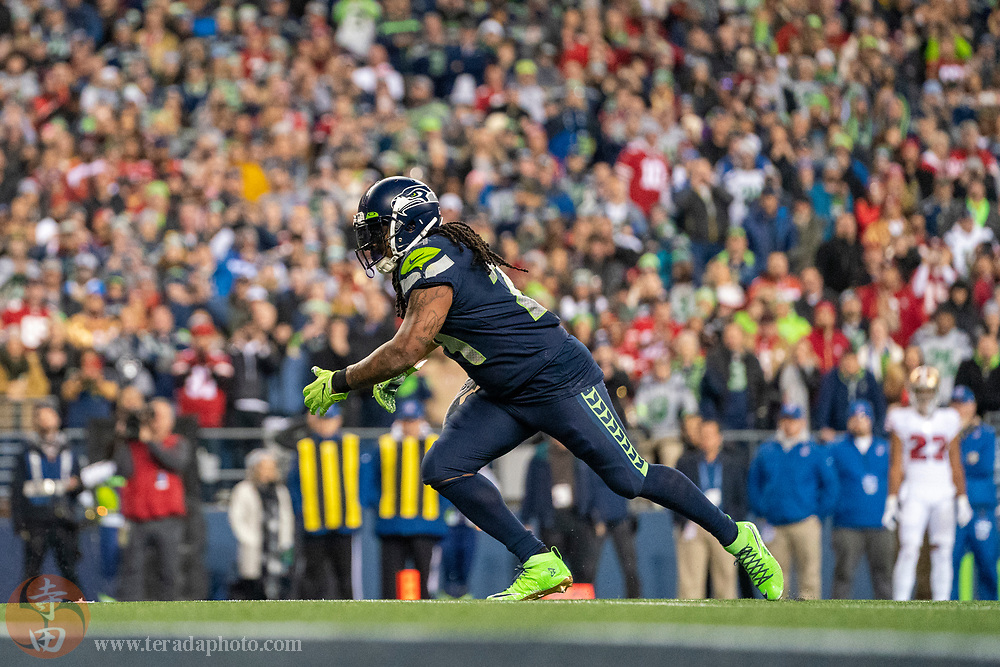 December 29, 2019; Seattle, Washington, USA; Seattle Seahawks running back Marshawn Lynch (24) during the fourth quarter against the San Francisco 49ers at CenturyLink Field.