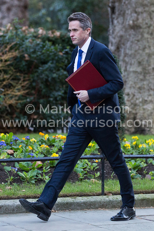 London, UK. 8th January, 2019. Gavin Williamson MP, Secretary of State for Defence, arrives at 10 Downing Street for the first Cabinet meeting since the Christmas recess.