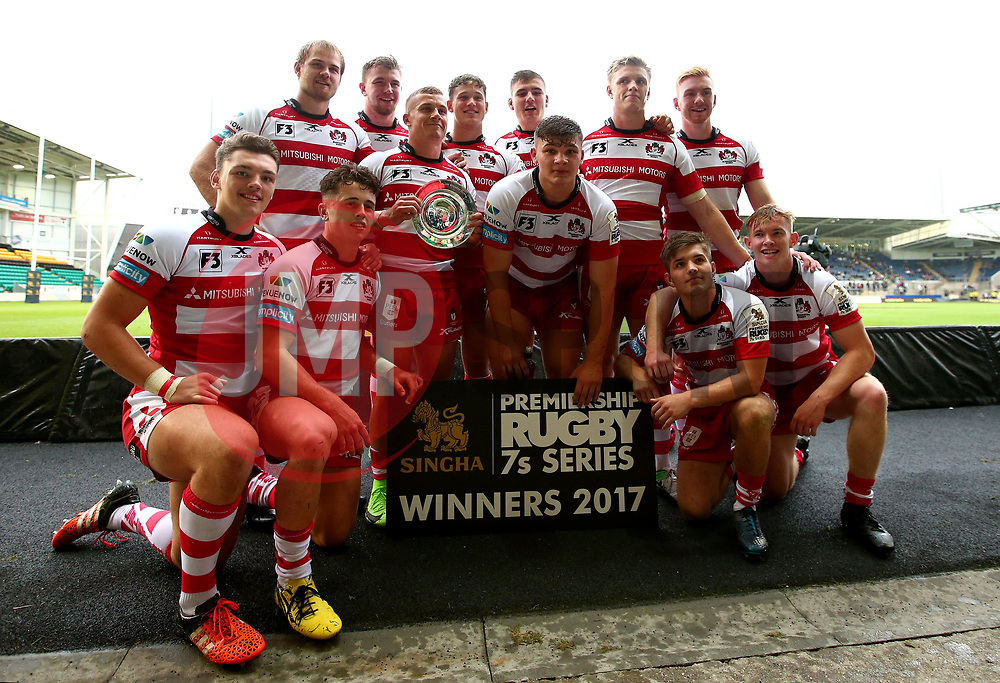Gloucester Rugby celebrate with the Premiership Rugby 7s Plate Trophy after beating Saracens in the Final - Mandatory by-line: Robbie Stephenson/JMP - 29/07/2017 - RUGBY - Franklin's Gardens - Northampton, England - Saracens v Gloucester Rugby - Singha Premiership Rugby 7s