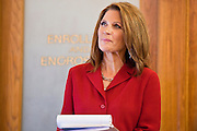 17 OCTOBER 2011 - PHOENIX, AZ: MICHELE BACHMANN, a Republican candidate for US President, waits to speak to members of the Arizona legislators at the State Capitol in Phoenix. Bachmann met with Republican Arizona legislators and Republican members of the state's Congressional delegation Monday morning to talk about illegal immigration and border security. During the meeting she pledged that if she were elected US President, she would construct a fence along the US - Mexico border.    PHOTO BY JACK KURTZ