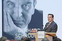 """26 OCT 2006, BERLIN/GERMANY:<br /> Gerhard Schroeder, SPD, Bundeskanzler a.D., waehrend einer Pressekonferenz zur Vorstellung seines Buches """"Entscheidungen. Mein Leben in der Politik"""", Willy-Brandt-Haus<br /> IMAGE: 20061026-01-023<br /> KEYWORDS: Gerhard Schröder, Autobiografie, Biografie, Buch"""