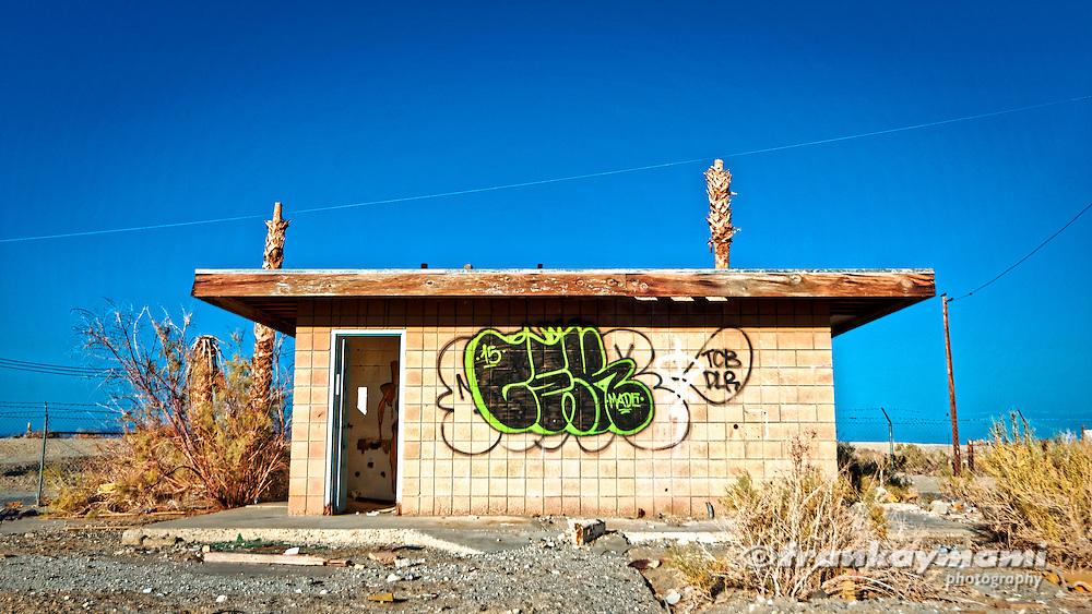 A Full Spectrum image of an abandoned building at Salton Sea Beach in Salton Sea, CA.