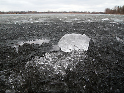 Lake Nokomis Ice forms a sheet of jutting and jagged ice chunks during the spring meltdown.  These chunks flow and can demonstrate wave properties of the water that infuses them.