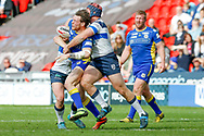 Doncaster RLFC interchange Kieran Cross (15) is stopped  during the Challenge Cup 2018 match between Doncaster and Featherstone Rovers at the Keepmoat Stadium, Doncaster, England on 22 April 2018. Picture by Simon Davies.