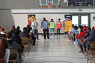 Martha Tessmer, mother of distracted driver victim Donovan Tessmer, presents to an audience of high school students in Castro Valley, California for Impact Teen Drivers. Ms. Tessmer has presented to more than 65,000 students.