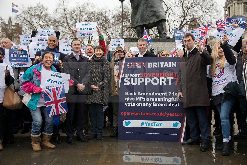 © Licensed to London News Pictures. 13/12/2017. London, UK. Chuka Umunna MP, Caroline Lucas MP and Tom Brake MP join a rally in Parliament Square in support of Amendment 7 to the EU Withdrawal Bill. Photo credit: Rob Pinney/LNP