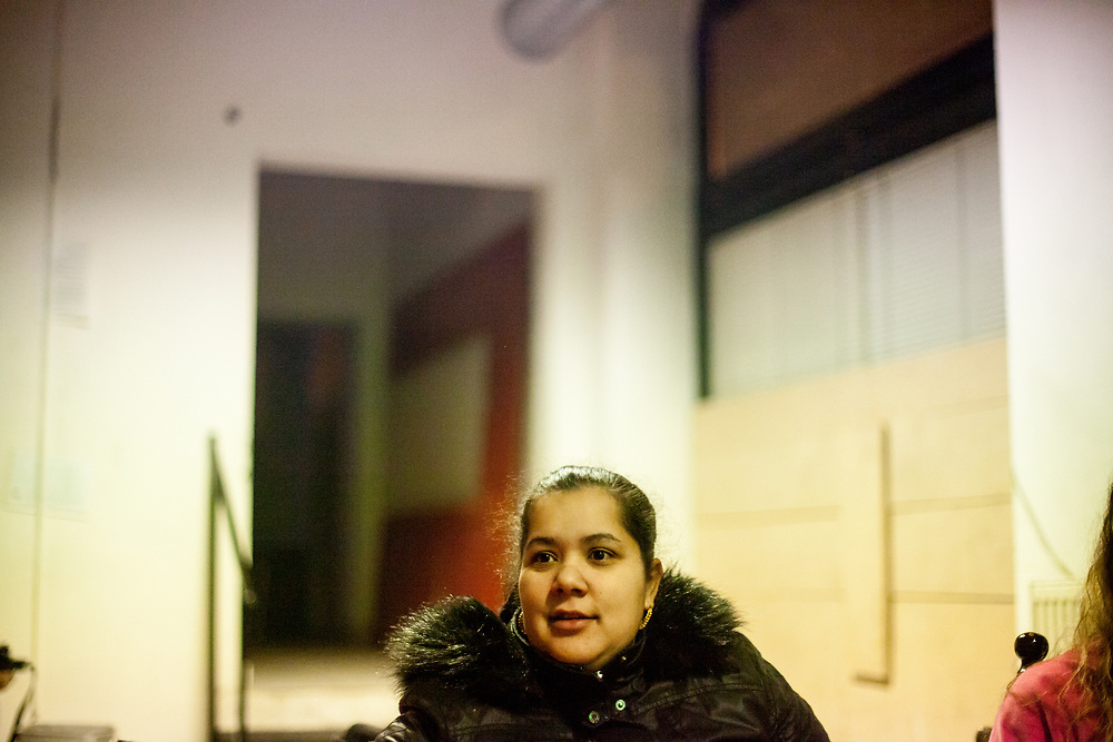 Mother and volunteer Jitka Cervenakova (25) during a meeting with volunteers for data collection regarding school enrolments in a backroom of a bar in Ostrava.