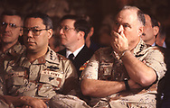 Generals Powell and Schwarzkopf at a briefing in Saudi Arabia in February 1991...Photograph by Dennis Brack BBBs 20<br /><br />Photograph ny Dennis Brack. bb78