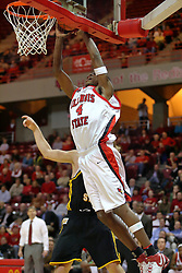 18 January 2007: Anthony Slack against the glass with a shot offering. The Shockers of Wichita State were shut off by the Redbirds by a score of 83-75 at Redbird Arena in Normal Illinois on the campus of Illinois State University.