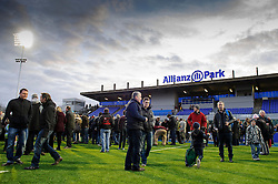 Fans flood the pitch as players leave after the match - Photo mandatory by-line: Rogan Thomson/JMP - Tel: Mobile: 07966 386802 16/02/2013 - SPORT - RUGBY - Allianz Park - Barnet. Saracens v Exeter Chiefs - Aviva Premiership. This is the first Premiership match at Saracens new home ground, Allianz Park, and the first time Premiership Rugby has been played on an artificial turf pitch.