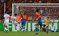 Photo: Glyn Thomas.<br />Spain v Tunisia. FIFA World Cup 2006. 19/06/2006.<br /> Jaouhar Mnari (second from L) gives Tunisia an early lead.