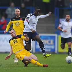TELFORD COPYRIGHT MIKE SHERIDAN 19/1/2019 - Dan Udoh of AFC Telford is tackled by Sam Austin of Kidderminster(formerly of AFC telford) during the Vanarama Conference North fixture between AFC Telford United and Kidderminster Harriers