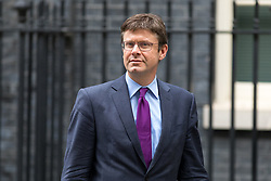 © Licensed to London News Pictures. 17/10/2017. London, UK. Secretary of State for Business, Energy and Industrial Strategy Greg Clark leaving No 10 Downing Street after attending a Cabinet meeting this morning. Photo credit : Tom Nicholson/LNP