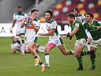 Rugby Union - 2020 / 2021 European Rugby Challenge Cup - London Irish vs Pau - Brentford Community Stadium<br /> <br /> Pau's Hugo Le Gall evades the tackle of London Irish's James Stokes.<br /> <br /> COLORSPORT/ASHLEY WESTERN