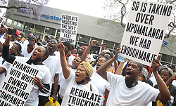South Africa - Pretoria - 5 October 2020 - Member of the Truckers Association of South Africa protest outside the Department of Transport against unfair permit ownership.<br /> Picture: Jacques Naude/African News Agency (ANA)
