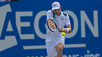 Tennis - 2017 Aegon Championships [Queen's Club Championship] - Day Three, Wednesday<br /> <br /> Men's Singles, Round of 16 - Gilles Muller (LUX) vs Jo-Wilfred Tsonga (Fra)<br /> <br /> Gilles Muller (LUX) in action on the centre court at Queens Club<br /> <br /> COLORSPORT/DANIEL BEARHAM