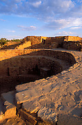 Dawn light on kiva wall at Far View Ruin, Mesa Verde National Park, Colorado USA