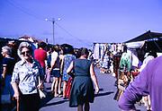 Puerto de la Cruz holiday resort, Tenerife, Canary Islands, Spain, 1974 - people at street market