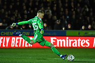 Wimbledon goalkeeper Aaron Ramsdale (35) during the The FA Cup fourth round match between AFC Wimbledon and West Ham United at the Cherry Red Records Stadium, Kingston, England on 26 January 2019.