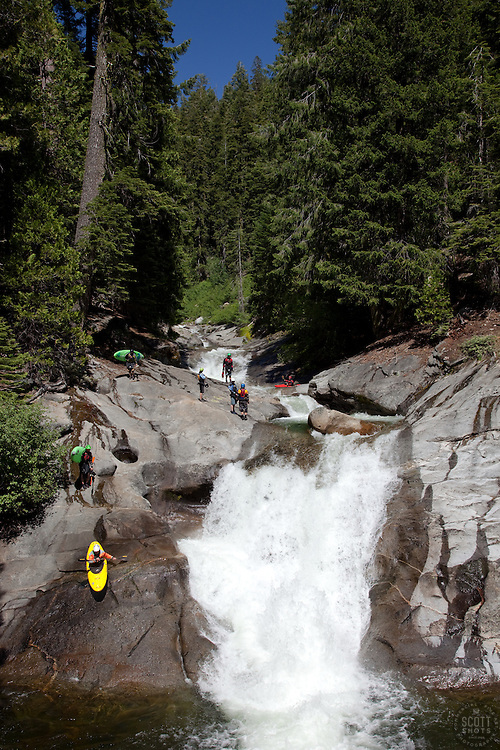 """""""Kayakers on Silver Creek 1"""" - These kayakers were photographed on Silver Creek - South Fork, near Icehouse Reservoir, CA."""