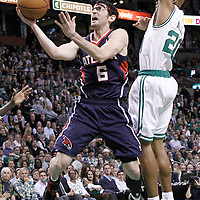 10 May 2012: Atlanta Hawks guard Kirk Hinrich (6) goes for the layup past Boston Celtics shooting guard Ray Allen (20) during the Boston Celtics 83-80 victory over the Atlanta Hawks, in Game 6 of the Eastern Conference first-round playoff series, at the TD Banknorth Garden, Boston, Massachusetts, USA.