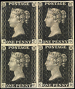"""Unused block of four """"Penny Black"""" postage stamps of Queen Victoria issued May 6, 1840 After a design by William Wyon"""