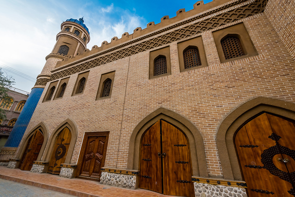 Beautifully restored old building in Old Town, Yarkand, on the Southern Silk Road (it was an important caravan town), at the southern edge of the Taklamakan Desert. Xinjiang Province, China.