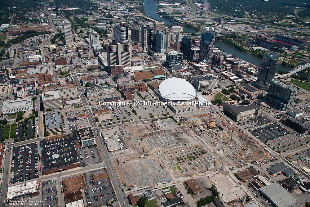 Aerial photo of the Music City Center during construction with the Nashville Skyline in the background.