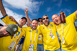 July 3, 2018 - St Petersburg, Russia - 180703 Fans of Sweden outside the arena prior to the FIFA World Cup round of 16 match between Sweden and Switzerland on July 3, 2018 in ST Petersburg..Photo: Petter Arvidson / BILDBYRÃ…N / kod PA / 87748 (Credit Image: © Petter Arvidson/Bildbyran via ZUMA Press)